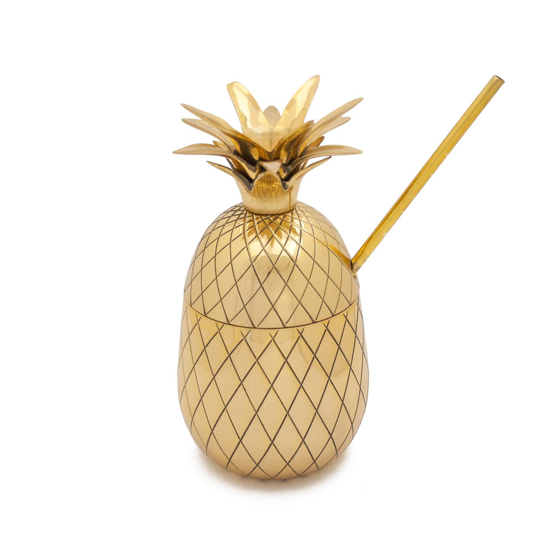 the great pineapple co 16 oz ananas gold deko. Black Bedroom Furniture Sets. Home Design Ideas